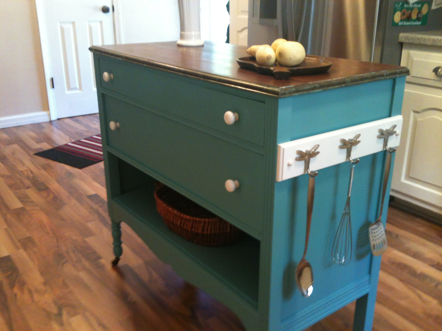 Make a DIY Island using a Dresser - Frugal Living for Life