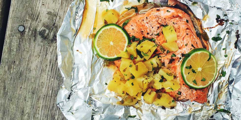 Foil Pack Salmon with Pineapple Salsa