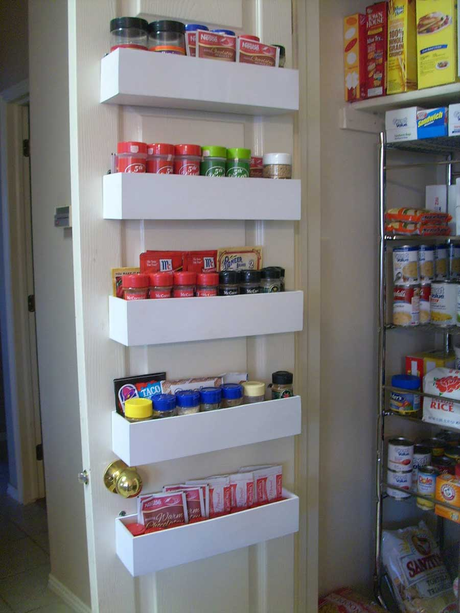 DIY closet organization back door shelves