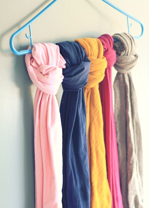 DIY closet organization scarves