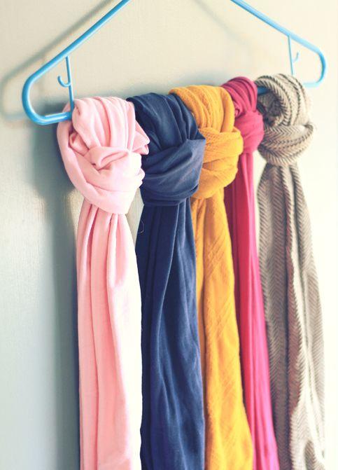 DIY closet organization scarves