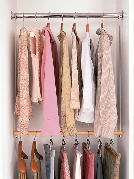 DIY closet organization second rod