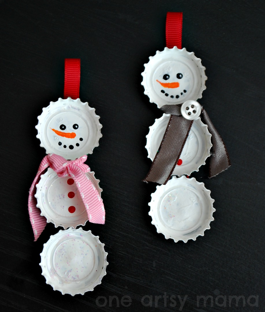 19 simple diy christmas crafts frugal living for life 1ttle cap snowmen ornament solutioingenieria Gallery
