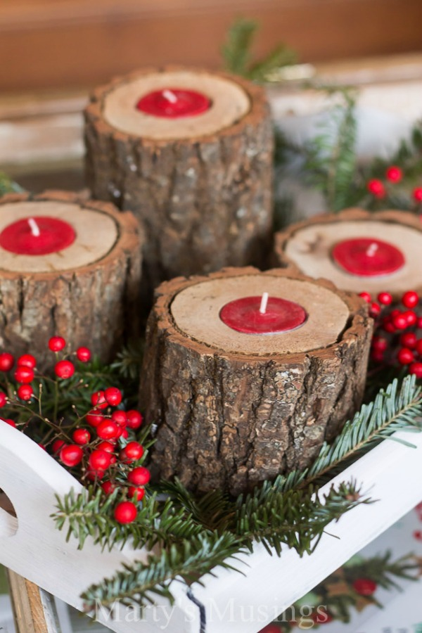 Rustic Christmas Craft Ideas Part - 50: Rustic Wood Candle Holders